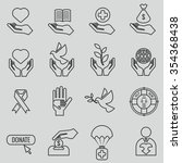 charity and donation line icons ... | Shutterstock .eps vector #354368438