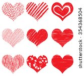 hand drawn heart shapes  icons... | Shutterstock .eps vector #354368504