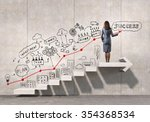 businesswoman drawing strategy... | Shutterstock . vector #354368534
