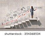 businesswoman drawing strategy... | Shutterstock . vector #354368534