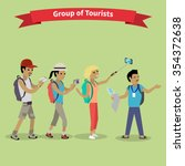 tourists people group flat... | Shutterstock .eps vector #354372638