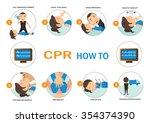 cpr how to vector illustration. | Shutterstock .eps vector #354374390