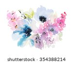 greeting card with flowers.... | Shutterstock . vector #354388214