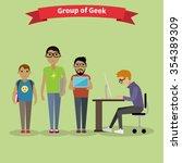 geek group team people flat... | Shutterstock .eps vector #354389309