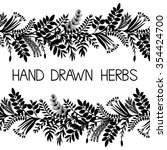 hand drawn horizontal border of ... | Shutterstock . vector #354424700