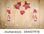 wooden christmas figurines... | Shutterstock . vector #354437978