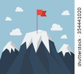 red flag on a mountain peak.... | Shutterstock .eps vector #354441020