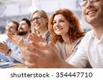 happy business team applauding... | Shutterstock . vector #354447710