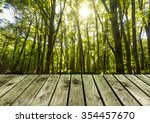 wooden pier with lush forest ... | Shutterstock . vector #354457670