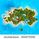 cartoon tropical exotic island... | Shutterstock .eps vector #354475550
