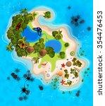 cartoon tropical exotic island... | Shutterstock .eps vector #354476453