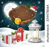 christmas lantern with gift... | Shutterstock . vector #354478064