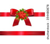 xmas red ribbon and bow  | Shutterstock . vector #354480878