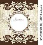 vintage invitation card with... | Shutterstock .eps vector #354522113