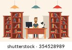 flat young man sitting in the... | Shutterstock .eps vector #354528989