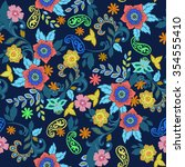 paisley seamless texture with... | Shutterstock .eps vector #354555410