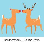 two deer with horns and without ... | Shutterstock .eps vector #354556946
