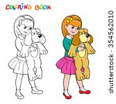 coloring book or page. girl... | Shutterstock .eps vector #354562010