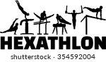 hexathlon gymnastics set | Shutterstock .eps vector #354592004