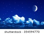 night sky with stars and full... | Shutterstock . vector #354594770