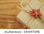 vintage gift box on wooden... | Shutterstock . vector #354597698