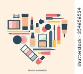 makeup elements heart shape... | Shutterstock .eps vector #354656534