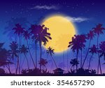 big yellow moon with dark palms ... | Shutterstock .eps vector #354657290