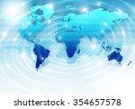 world map on a technological...   Shutterstock . vector #354657578