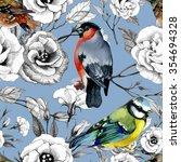 bullfinch and titmouse birds... | Shutterstock . vector #354694328