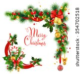 christmas decorative corner... | Shutterstock .eps vector #354702518
