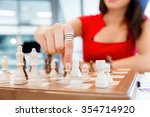 business woman sitting in front ... | Shutterstock . vector #354714920