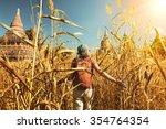 rear view of woman traveler... | Shutterstock . vector #354764354