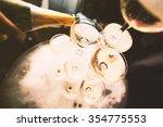 mountain glasses of champagne ... | Shutterstock . vector #354775553