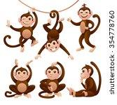 monkeys set. vector eps 10. | Shutterstock .eps vector #354778760