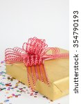 beautiful gold present box with ... | Shutterstock . vector #354790193