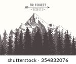 fir forest background with... | Shutterstock .eps vector #354832076