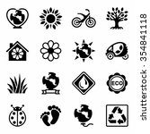 vector eco icon set on white... | Shutterstock .eps vector #354841118