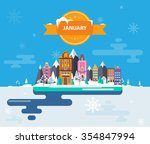 winter landscape. small town.... | Shutterstock .eps vector #354847994