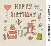 happy birthday card | Shutterstock .eps vector #354859529