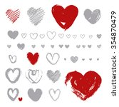 hand  drawn hearts on white... | Shutterstock .eps vector #354870479