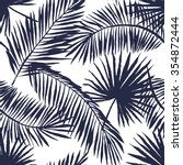 Palm Leaves Silhouette On The...
