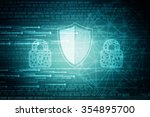 security concept  shield with... | Shutterstock . vector #354895700