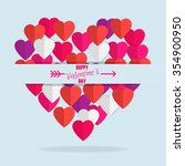 happy valentine's day. paper... | Shutterstock .eps vector #354900950