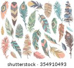 tribal feathers vector set | Shutterstock .eps vector #354910493