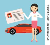 woman holding show driver... | Shutterstock .eps vector #354916568