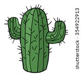 cartoon green cactus  isolated... | Shutterstock .eps vector #354922913