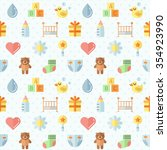 baby  girl and boy  stuff flat... | Shutterstock .eps vector #354923990