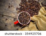 coffee beans with  in coffee... | Shutterstock . vector #354925706