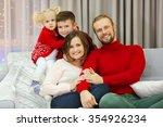 christmas family portrait in... | Shutterstock . vector #354926234
