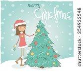 girl with christmas tree | Shutterstock .eps vector #354933548